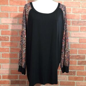 Tua Fashion Knit Tunic Top Paisley/Black - 3X